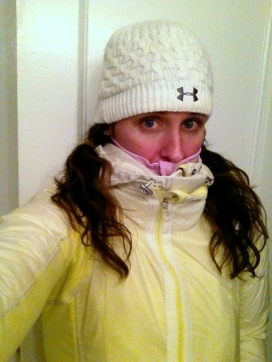 Frozen Abby running in 20 degree temperatures. Brrrrrrr.
