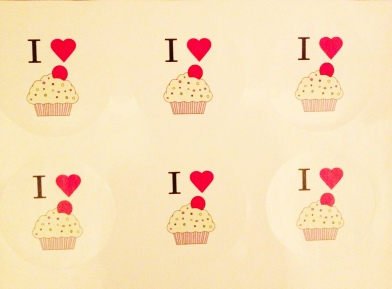 Cupcake stickers instead of race bibs.