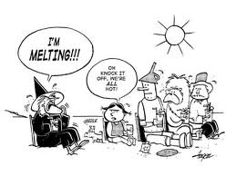 Being hot during a heat wave is not news. (Image courtesy of CartoonStock.com)