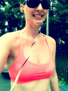 You know it's hot if I'm down to my sweaty sports bra. These abs don't see the light of day whilst running very often.