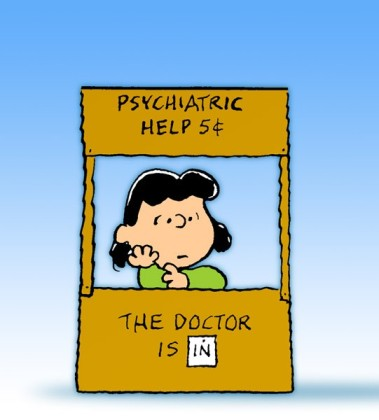 Lucy never mastered the art of admitting she didn't know everything. Hence her roadside psychiatry business.