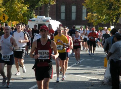 Trying to run the tangents at the Marine Corps Marathon...and looking lost.