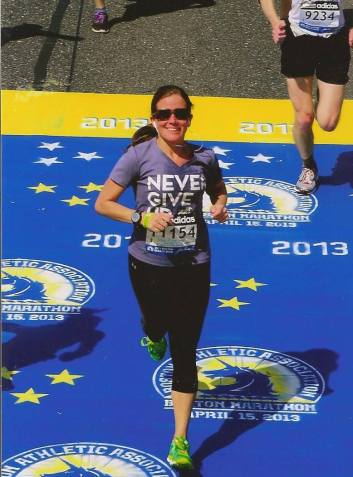 Lauren running for SMA at this year's Boston Marathon.
