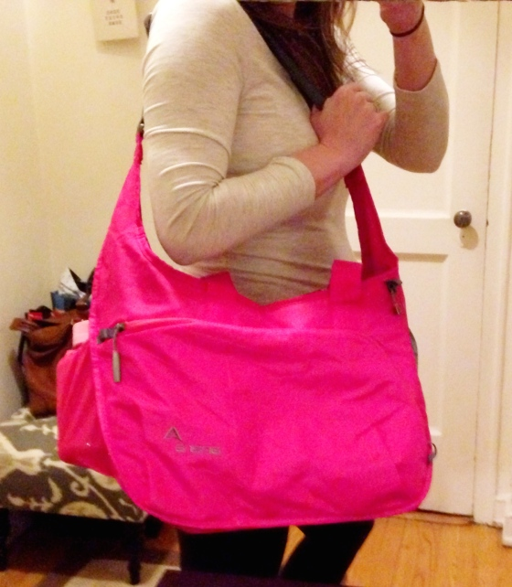 My hot pink bag is always in style.