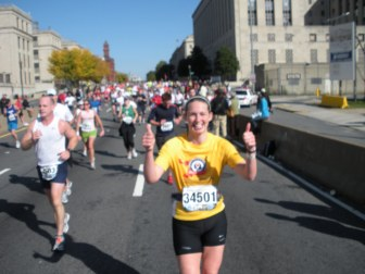 Thumbs up at mile 20...but looking a little slouchy.
